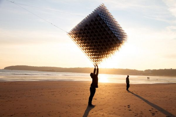 Enormous Flyable Cube Kite by Heather and Ivan Morison