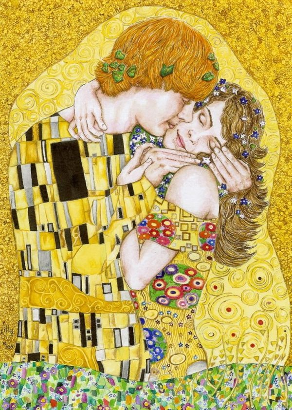 Art Inspired by Gustav Klimts The Kiss Painting
